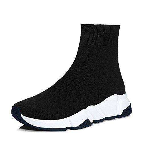 RoseG Herren Damen Mode Sliper Schuhe Unisex Leichte Atmungsaktive Sneakers Outdoor Turnschuhe Schwarz/Weiß Size43