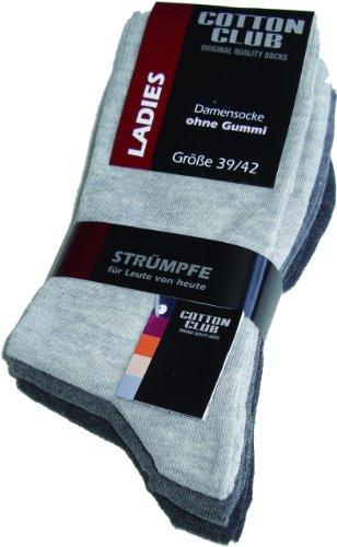 Cotton Club Damen-Socken ohne Gummi mit Lycra 3erPack (39-42, grautöne)