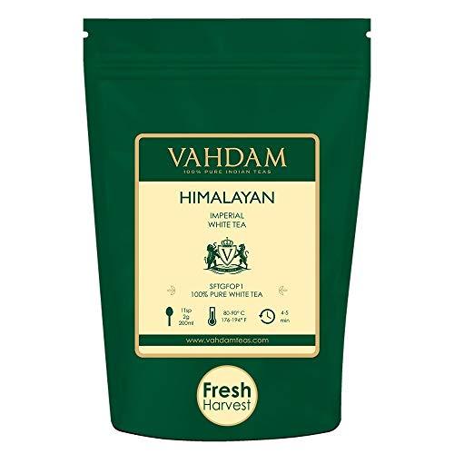 Tè bianco imperiale dell'Himalaya in foglie – Il tè più sano al mondo, ricco di POTENTI ANTIOSSIDANTI, raccolto fresco a mano nel da piantagioni di alta quota, floreale e invitante, 25 Tazze