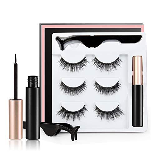 QH 3 / 5pair 3D Magnetic Manually Eyelashes Makeup Eyelash Artificial Eyelash Extension Magnetic Reusable False Eyelashes (Color : 3pair)