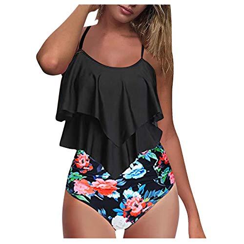 Conjunto de bikini de verano de las mujeres conjunto de cintura traje de baño Top Ruffle dos piezas traje de baño de moda estampado floral conjunto de bikini modificado figura elegante traje de baño