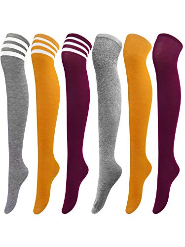 Aneco, 6 Pairs Over Knee Thigh Socks Knee-High Warm Stocking Women Boot Sock Leg Warmer High Socks for Daily Wear, Cosplay, Mixed Color J, M