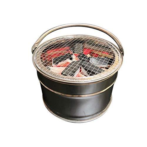 FEANG Runder Barbecue Grill, tragbarer multifunktionaler Grillofen Food Speisekohle-Herd BBQ-Platte Haushalts-Grillgerät-Zubehör