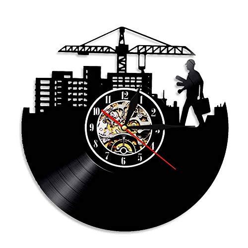 Rgzqrq Diseño Moderno Disco de Vinilo LP construcción Creativo Trabajador de la construcción Reloj máquina silencioso Arquitecto Reloj de Pared 30x30 cm