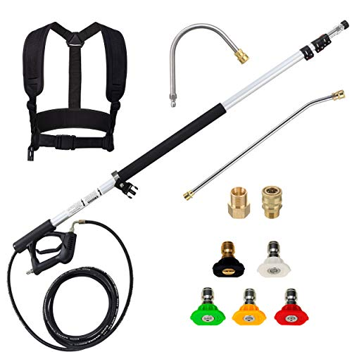 M MINGLE Telescoping Pressure Washer Wand, 18 Feet Telescopic Lance with 2 Extension Wands, 2 adapters, 5 Nozzle Tips and Support Belt, 4000 PSI