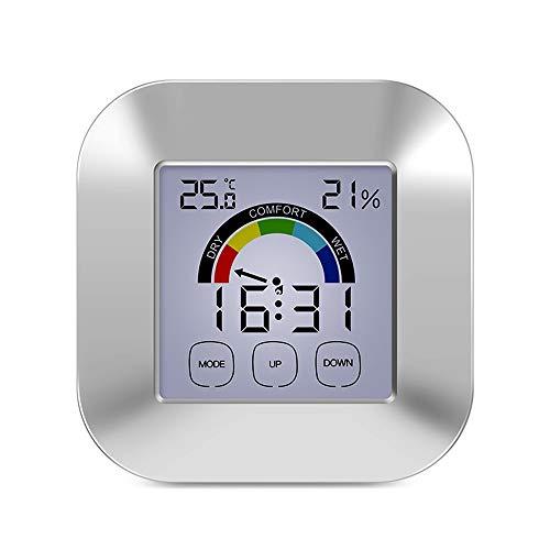 CWC Digital Hygrometer Thermometer, Innen- und Außenthermometer mit LCD-Display, Smart-Touch-Screen-Hintergrundbeleuchtung, Eingebaute Uhr und Timer