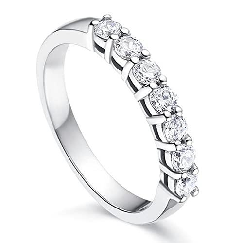 Anillo de eternidad para mujer, anillo de compromiso personalizado, diseño de princesa, regalo de circonita, diamante personalizado, plata, Talla única