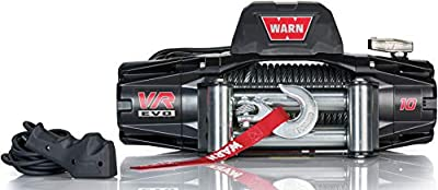 "WARN 103252 VR EVO 10 Electric 12V DC Winch with Steel Cable Wire Rope: 3/8"" Diameter x 90' Length, 5 Ton (10,000 lb) Pulling Capacity"