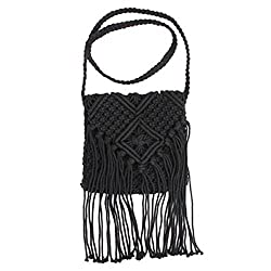 Top-class cotton rope crocheted with sturdy structure for durable use. Comfortable to touch. Easy to wash and dry. Crothet crafts with fringed design. Special and fashionable. Heavy load capacity and enough large space with smooth zipper. Nice gifts ...