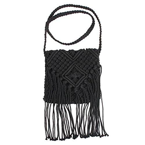 Tinksky - Borsa a tracolla da donna, con frange all'uncinetto, stile bohémien, da spiaggia, colore: nero