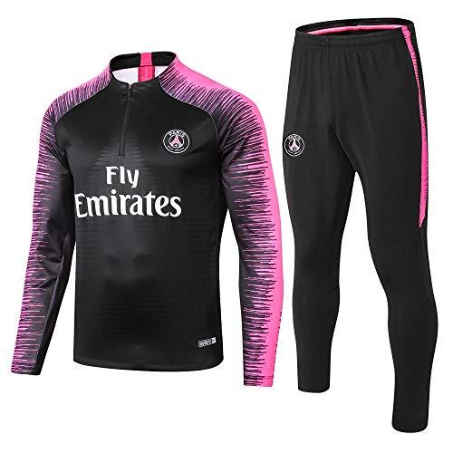 Paris Black Camiseta de Manga Larga de fútbol Primavera y otoño Chaqueta Apariencia Adultos Sudaderas Trajes de Entrenamiento, XL