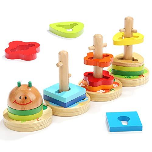 TOP BRIGHT Holzstapelspielzeug, STEM Educational Geometric Color Shape Sorting Board, Lernspielzeug für Babys, Jungen und Mädchen