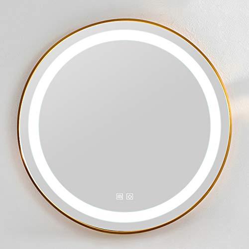 Badezimmerspiegel Beleuchteter LED-Licht Runder an Der Wand Montierter Kosmetikspiegel Hoher Klarer Nebel Silberspiegel Smart Touch-Schalter, Geeignet für Toilette/Hotel/Friseur