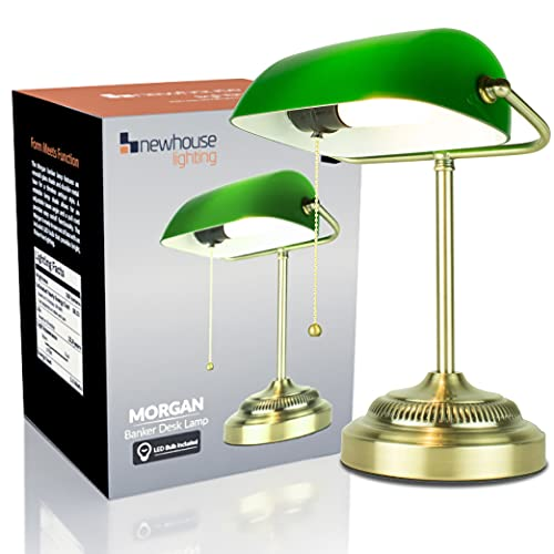 Newhouse Lighting Morgan Antique Green and Brass Glass and Metal Adjustable Energy-Efficient LED Classic Banker Lamp with 1 Free 3.5-Watt LED Bulb Included