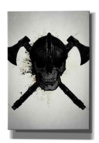 Cortesi Home Viking Skull Giclee Canvas Wall Art, 18' x 26', Black