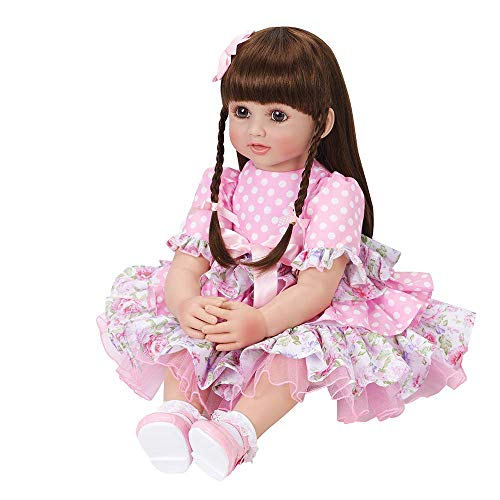 PURSUEBABY Realistic Reborn Toddler Girl Doll 24 inch 60 cm Real Looking Reborn Baby Doll Girl Melinda Soft Cloth Body Doll with Long Brown Hair for Girls Play Doll Toy Gift