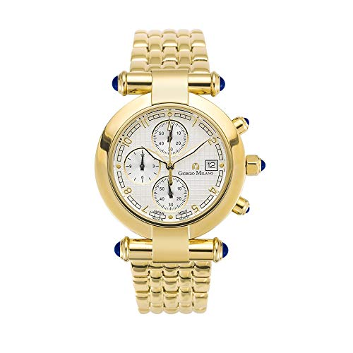 Giorgio Milano 'Lucia' Luxury Women's Wrist Watches - Chronograph Ladies Watch - with 37 MM Case - Japanese Quartz Movement - Stainless Steel Band - AM/PM - Shock and Water Resistant Watch, Gold,