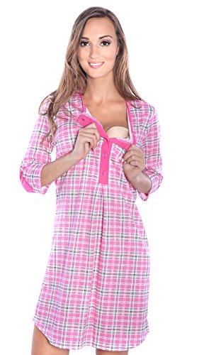 Mija - 2 en 1 Maternité/Allaitement 100% Coton Robe de Nuit 4016 (EU 38, Rose)