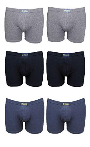 Navigare 6 Boxer Uomo Intimo Art 573 Cotone Elastico Bianco - Assortito Nero Blu Grigio Taglie 4 5 6 7 (Assortito - 4)