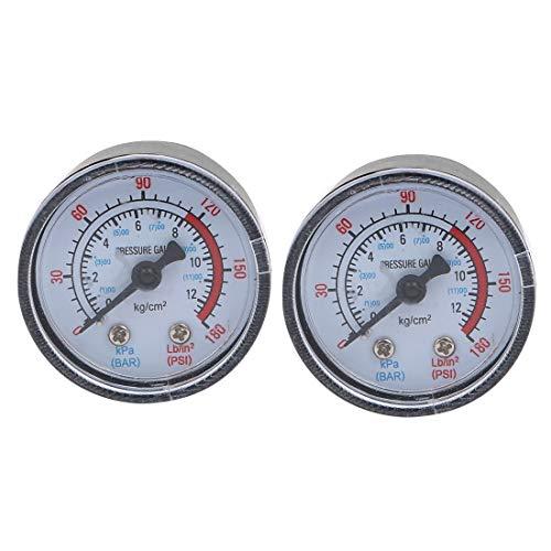 2 piezas 1/8BSP rosca macho compresor de aire barómetro herramienta de medición 0-12KPa 0-180Psi