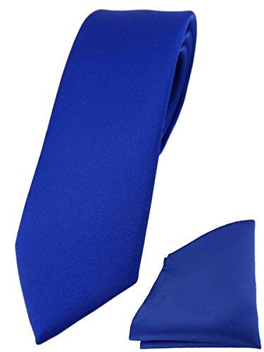 TigerTie schmale Designer Krawatte Einstecktuch in dunkles royalblau einfarbig uni
