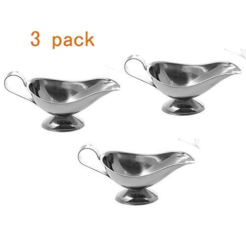Stainless Steel 3 OZ Gravy Boat Juice Bucket Dish Roasting Sauce Dish 3 Pack