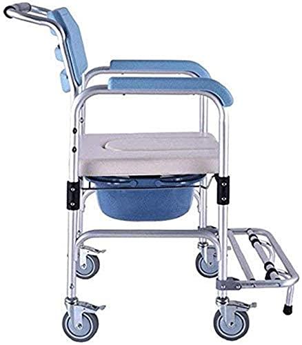 FYRMMD Taburete de Ducha Asientos de baño Silla de Ducha Plegable portátil con Ruedas y Frenos Asiento de Inodoro para el sillón reclinable de Exterior Elderl ⭐