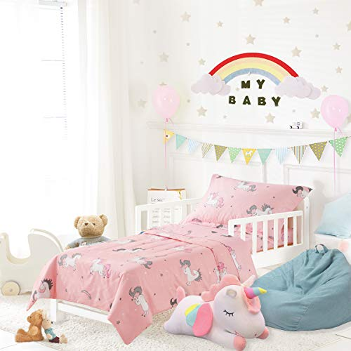 Uozzi Bedding 4 Piece Unicorn Toddler Bedding Set with Rainbow Stars Pink - Includes Adorable Quilted Comforter, Fitted Sheet, Top Sheet, and Pillow Case - Cute Design for Girls Bed