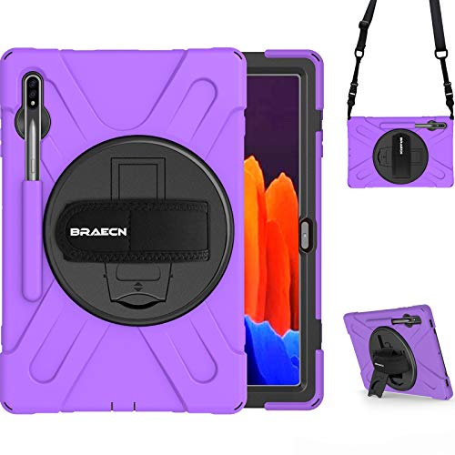 BRAECN Samsung Galaxy Tab S7 Plus Case 2020. Rugged Heavy Duty Hard Case Cover with S Pen Holder Handle Hand Strap Kickstand Shoulder Strap for Galaxy Tab S7+ 12.4 Inch SM-T970 SM-T975 SM-T976 -Purple