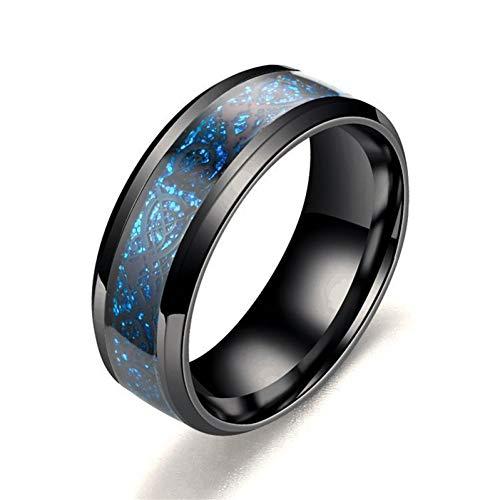 ERDING Fashion Cadeau/Nieuwe Blauw Rood Zwart RVS Ringen Mannen Sieraden Engagement Retro Vintage Ringen Draak Ringen Mannen Ring Breed 8mm