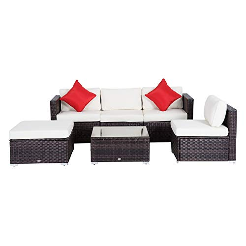Outsunny 6-Piece Outdoor Patio Rattan Wicker Furniture Set with Comfortable Cotton Cushions, Removable Slip Covers, Cream White