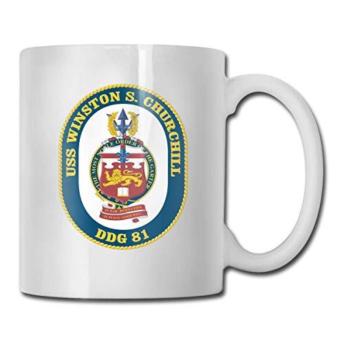 Navy USS Winston S. Churchill DDG-81 Gift Taza de café divertida Taza de té Taza de cerámica blanca