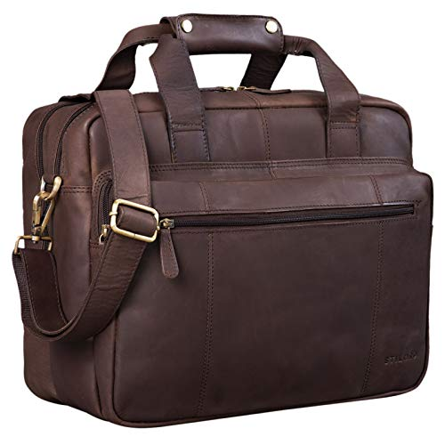 STILORD \'Experience\' Vintage Lehrertasche Leder groß für Herren Damen XL Aktentasche Business Schulter- oder Umhängetasche für Laptop Trolley aufsteckbar, Farbe:matt - Dunkelbraun