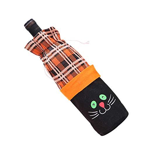 Chowcencen Lustige Kürbis-Katze Hexe Gitter Tuch Weinflasche Wein Dekorative Tasche Halloween-Party-Schnür Champagne-Flasche Pouch