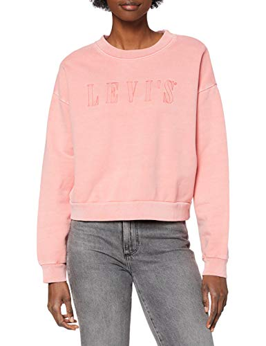 Levi's Graphic Diana Crew Sudadera, Serif Outline Garment Dye Blush, S para Mujer