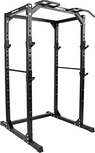 MSPORTS Power Rack Premium Cage H/B/T - 215x120x140 cm Kraftstation bis 200 kg Hantel Käfig Squat Fitnessstation (Power Rack)