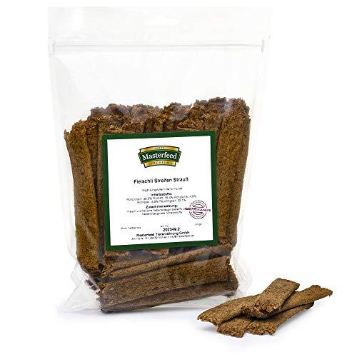 Masterfeed Leckerli Streifen Strauß - 90% Fleischanteil - Getreidefrei - 100% Natürlich - Hundeleckerli Größe 500 g