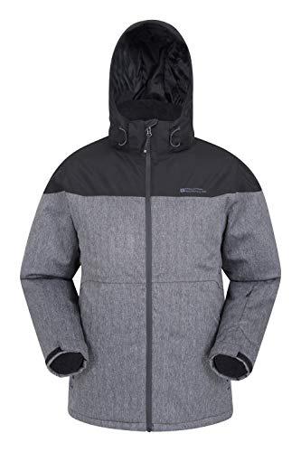 Mountain Warehouse Stratosphere Herren-Skijacke - wasserdichte Snowboardjacke, warme, atmungsaktive Winterjacke, verschweißte Nähte, Schneefang, Skipass Tasche Schwarz XL