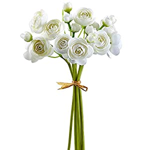 SilksAreForever 10″ Silk Mini Ranunculus Flower Stem Bundle -White (Pack of 12)