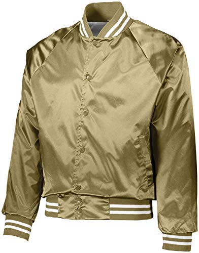 Augusta Sportswear 3610 Men's Satin Baseball Jacket/Striped Trim, Small, Metallic Gold/White