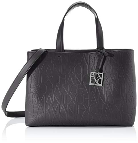 Armani Exchange Mujer Liz – Medium Open Shopping Tote, 24 x 16 x 35 cm, color Negro, talla 24x16x35 cm (B x H x T)