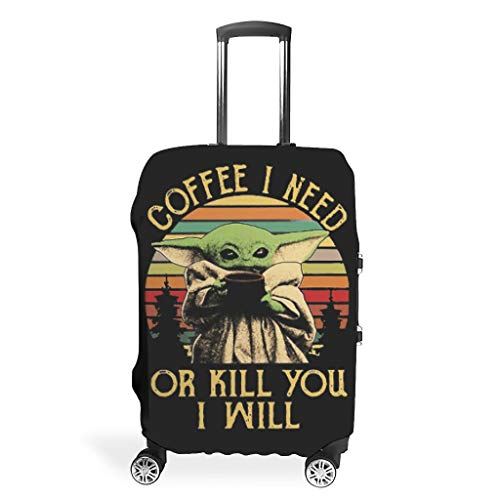 NiTIAN Travel Luggage Covers Fashion Spandex Travel Baggage Suitcase Cover Anti-Water Dustproof Baggage Covers Case Coffee I Need Or Kill You I Will Yoda Printing White s (49x70cm)