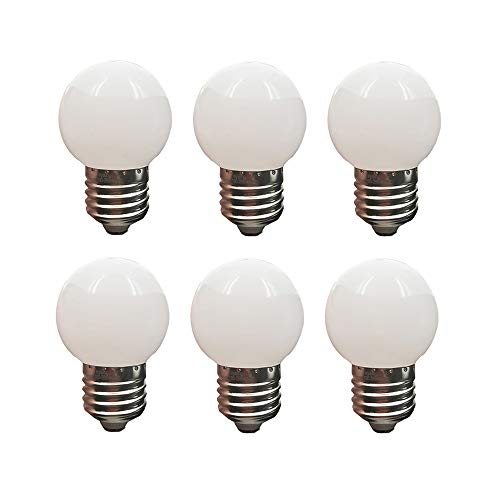 LED G14 Light Bulb 1W Soft White 3000K Not Dimmable LED Energy Saving Light Bulbs 10 Watt Equivalent LED Lights for Home E26 6 Pack(1W-E26-Soft White-3000K)
