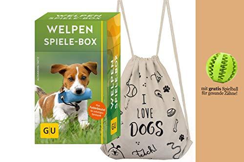 YellowMedia Welpen Spiele-Box (GU Tier-Box) + stylischer Hunde-Turnbeutel & gratis Hunde-Spielzeug für Zahnpflege, Welpentraining