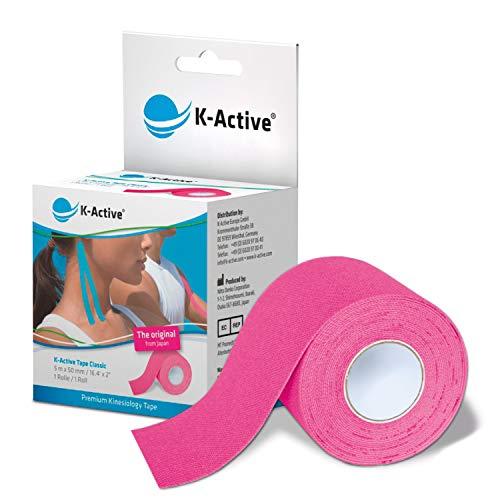 K-Active Tape Classic | Kinesiotapes super hautverträglich | wasserfest | Kinesiologie Tape für Sport & Therapie, extra langer Halt | [5cmx5m] pink