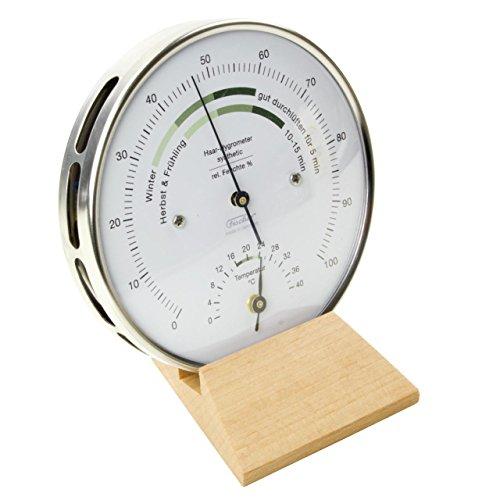 Wohnklima-Hygrometer mit Thermometer, Edelstahlgehäuse Ø 100 und Echtholzsockel in Buche natur