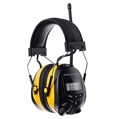 PROTEAR Digital AM FM Radio Headphones, Ear Protection Safety Ear Muffs, Electronic Noise Reduction Ear Defender for Mowing Lawn Working (Yellow)