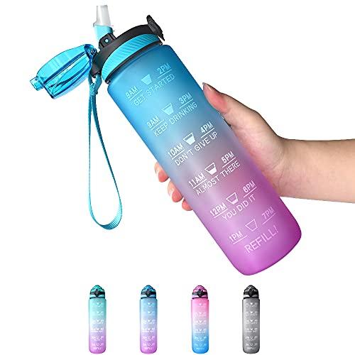 Trinkflasche mit Strohhalm 1L, Wasserflasche mit Zeitmarkierungen, Wasserflasche Frei BPA, 1 klick Öffnen in Water Bottle, Sportflasche, Fahrradflasche (Farbverlauf Blau Lila)