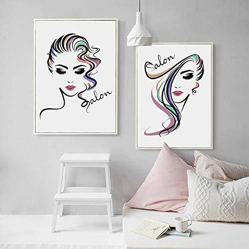 ZYQYQ Cuadros Decoración Mural Lienzo Hermosa chica Peluquería Carteles e impresiones Pintura moderna Imágenes Tienda de peluquería Salón de la habitación 40x60cmx2 Sin marco