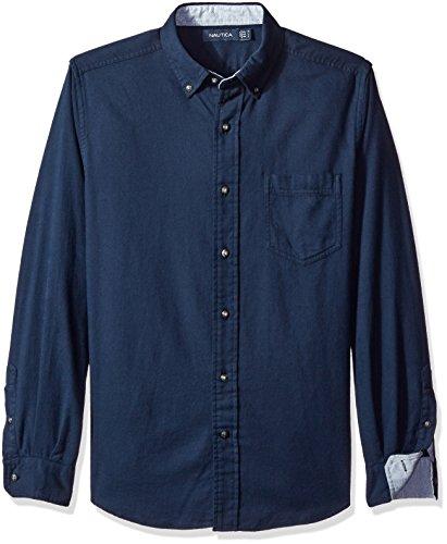 Nautica Men's Slim Fit Moleskin Shirt, Mood Indigo, S